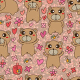 Bear brown cute small seamless pattern Royalty Free Stock Images