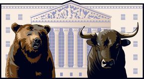 Bear and Bull. In front of the New York Stock Exchange building royalty free illustration
