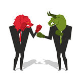 Bear and bull are boxing. Traders fight. Businessmen combat in b. Usiness suit and boxing gloves. Battle of red and green bear bull. Allegory illustration for Royalty Free Stock Image