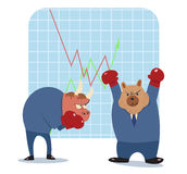Bear and bull  cartoon ready to fight in stock market Royalty Free Stock Photography
