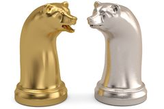 Bear and bull chess piece on white background.3D illustration. vector illustration
