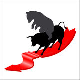 Bear and bull falling market concept. With arrow isolated on white background stock illustration