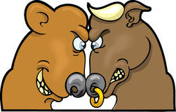 Bear and Bull Market. This is the stock market face-off; it happens every trading day Royalty Free Stock Images