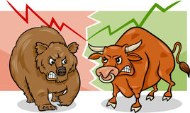 Bear and bull market cartoon Royalty Free Stock Photography