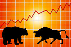 Bear and bull market. Stock exchange: bear and bull market Stock Photography