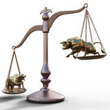 Bear and bull on the scales. On a white background. foreign exchange concept Stock Photo