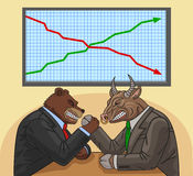 Bear and bull on the stock exchange. Bear and bull fighting each other for financial impact Stock Images