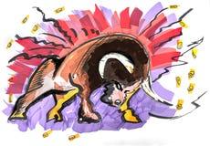 Bear and bull of stock market. Hand drawn clip art of bear and bull of stock market Stock Image