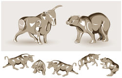 Bear and Bull vector illustration Stock Image