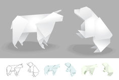 Bear and Bull vector illustration Stock Images