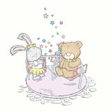 Bear and bunny ride on the carousel. Vector illustration for a card or poster. Royalty Free Stock Photos