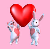 Bear and Bunny Valentine with clipping path Royalty Free Stock Photography