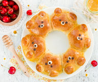 Bear buns - Creative idea for food art for kids Royalty Free Stock Photography