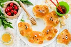 Bear buns. Ridiculously adorable pull-apart bear shaped milk bre Royalty Free Stock Photo