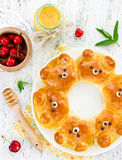 Bear buns. Ridiculously adorable pull-apart bear shaped milk bread rolls. Cute and kawaii Japanese style food art royalty free stock photos