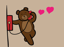 Bear calling love telephone Royalty Free Stock Image
