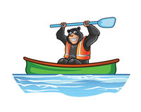 Bear in Canoe Cartoon Stock Photo