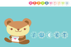 Bear card. Cute bear holding love letter Royalty Free Stock Image