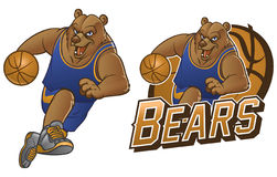 Bear cartoon basketball mascot Stock Photos