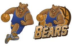 Bear cartoon basketball mascot Stock Photos