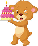 Bear cartoon with birthday cake Stock Photography
