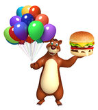 Bear cartoon character with balloon and berger. 3d rendered illustration of Bear cartoon character with balloon and berger Royalty Free Stock Photo