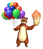 Bear cartoon character with balloon and icecream. 3d rendered illustration of Bear cartoon character with balloon and icecream Royalty Free Stock Photography
