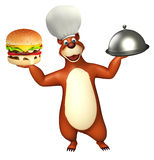 Bear cartoon character with burger and cloche. 3d rendered illustration of Bear cartoon character with burger and cloche Stock Image