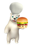 Bear cartoon character with chef hat and burger. 3d rendered illustration of Bear cartoon character with chef hat and burger Royalty Free Stock Image