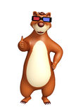 Bear cartoon character with 3D glasses Royalty Free Stock Image