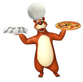 Bear cartoon character  with dinner plate and pizza Royalty Free Stock Photos