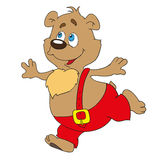 The bear is a cartoon character. Doodles illustration,. Cute bear in red pants runs.  illustration Royalty Free Stock Photo