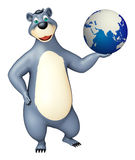 Bear cartoon character with earth. 3d rendered illustration of Bear cartoon character with earth Royalty Free Stock Photos