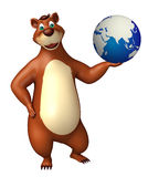 Bear cartoon character  with earth Royalty Free Stock Images