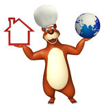 Bear cartoon character with earth and home sign Stock Image