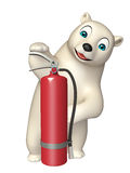 Bear cartoon character with fire extinguisher. 3d rendered illustration of Bear cartoon character with fire extinguisher Royalty Free Stock Photography