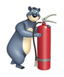 Bear cartoon character  with fire extinguisher. 3d rendered illustration of Bear cartoon character with fire extinguisher Royalty Free Stock Images