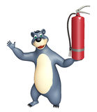 Bear cartoon character  with fire extinguisher. 3d rendered illustration of Bear cartoon character with fire extinguisher Royalty Free Stock Photos