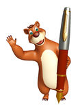 Bear cartoon character with pen Stock Images