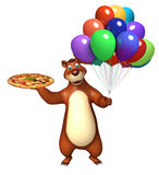 Bear cartoon character with pizza and balloon. 3d rendered illustration of Bear cartoon character with pizza and balloon Stock Images