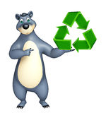 Bear cartoon character with recycle sign Royalty Free Stock Photo