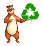 Bear cartoon character with recycle sign Stock Image