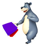 Bear cartoon character with shopping bag. 3d rendered illustration of Bear cartoon character with shopping bag Royalty Free Stock Images