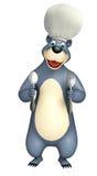 Bear cartoon character with spoons Royalty Free Stock Photos