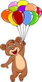 Bear cartoon with colorful balloon Royalty Free Stock Photography