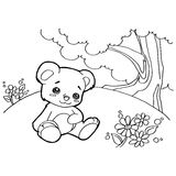 Bear cartoon coloring pages vector Stock Photo