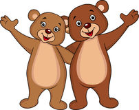 Bear cartoon couple waving hands Royalty Free Stock Images