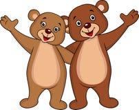 Bear cartoon couple waving hands. Illustration of bear couple waving hands royalty free illustration