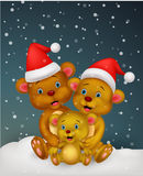 Bear cartoon family wearing red hat Royalty Free Stock Photography