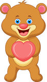 Bear cartoon with heart Royalty Free Stock Photo